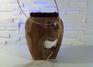 Urne aus Holz frontal Deckel unten